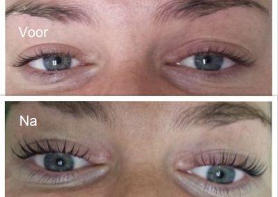 Wimpers voor en na 1